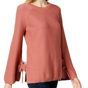 Two by Vince Camuto top pink tie sleeve crewneck